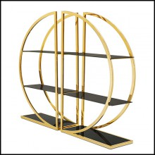 Bookcase set of 2 with metal structure in gold finish with smoked glass 162-Opale Set of 2