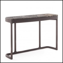 Console table in solid ashwood with 1 drawer and brown emperador marble 163-Samena