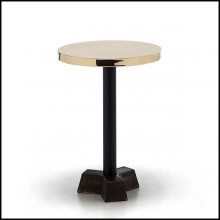 Side table with casted iron base in black finish and with polished glossy brass top 30-Shiny
