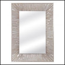 Mirror with hand-carved wood frame in antique silver leaf finish with beveled mirror glass 119-Twiggy Recta