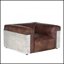 Armchair with riveted aluminum structure and with genuine leather in whisky finish 22-Aircraft Riveted