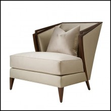 Armchair in solid mahogany wood with fabric in pearl finish 119-Balmare