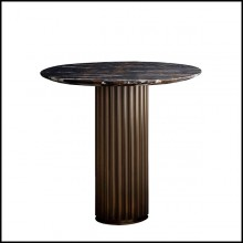 Side table with solid bronze base and with emperador marble round top 150-Colisee Bronze