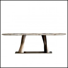 Console table with 2 twisted bronze feet and with oval calacatta marble top 150-Comet Marble