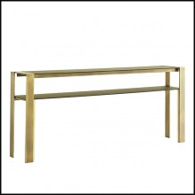 Console with bronze frame and with up and down tops in satinated tempered glass 145-Refined Bronze