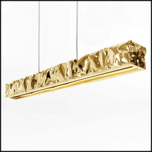 Suspension with hand-strained polished aluminum frame in gold finish 107-Bumpy Gold