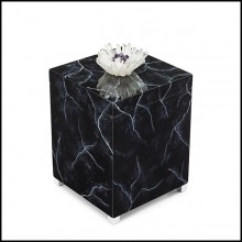 Box hand painted in marble style finish with lid decorated with natural crystal sticks and amethyst stone 162-Crystal Black