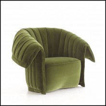 Armchair in solid wood upholstered and covered with olive velvet or blue velvet or beige velvet fabric 150-Great Rest