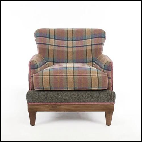Canapé avec structure en bois massif rembourré et couvert avec tissu velours coloris bleu 176-Lander