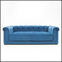 Sofa with solid wood upholstered and covered with high quality blue velvet fabric 176-Lander