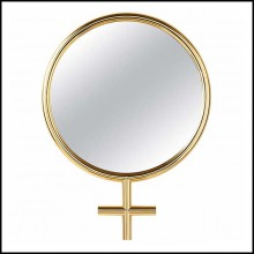 Miroir avec cadre finition plaqué or 24-Karat avec miroir rond en verre 107-Women