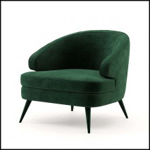 Armchair in wood upholstered and covered with British green velvet fabric 174-Peter