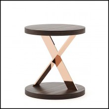 Side table with stainless steel base in copper finish with up and down tops in eucalyptus in matte finish 174-Xena