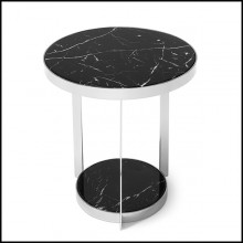 Side table in metal in chrome finish and with up and down black marble tops 162-Amy Black