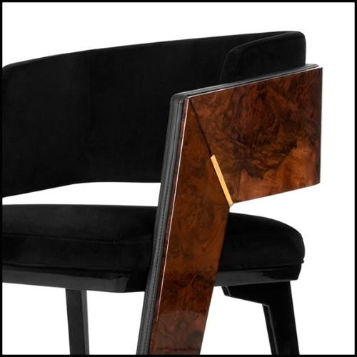 Table d'appoint en métal finition chrome avec plateaux supérieur et inférieur en marbre noir 162-Amy Black