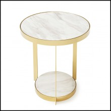 Side table in metal in gold finish and with up and down white marble tops 162-Amy White