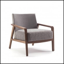 Armchair in solid walnut with back in grey nubuck leather and with fabric seat 154-Castello
