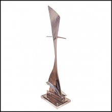 Fin from Boeing 737 in polished titanium riveted on transparent plexiglass base PC-Boeing 737 Fin