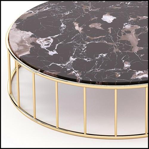 Etagère avec structure en laiton massif poli avec peinture brillante finition translucide 107-Golden