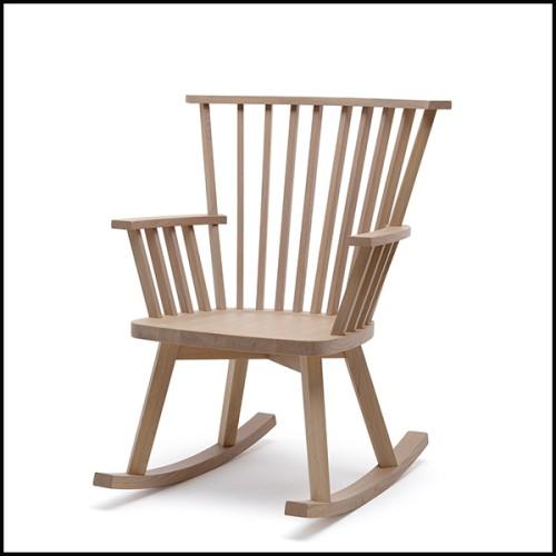 Chaise en noyer massif avec base rotative en acier finition satiné 154-Wooden Nest