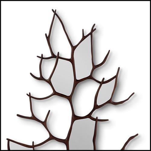 Buffet avec structure en bois finition chêne gris anthracite et miroir finition antique 24-Bogart