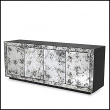 Sideboard in anthracite grey oak finish and mirror glass in antique finish 24-Bogart