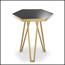 Side table in brushed brass finish with black marble top 24-Samson