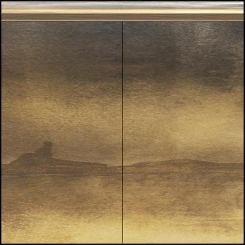 Table d'appoint finition laiton brossé avec plateau en marbre noir 24-Samson