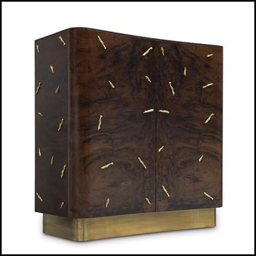 Chevet ou Table d'appoint en acajou et placage d'érable et de chêne finition brown 24-Camelot