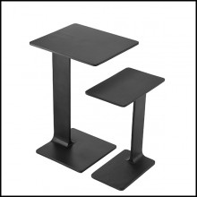 Side table set of 2 in aluminium in black finish 24-Smart