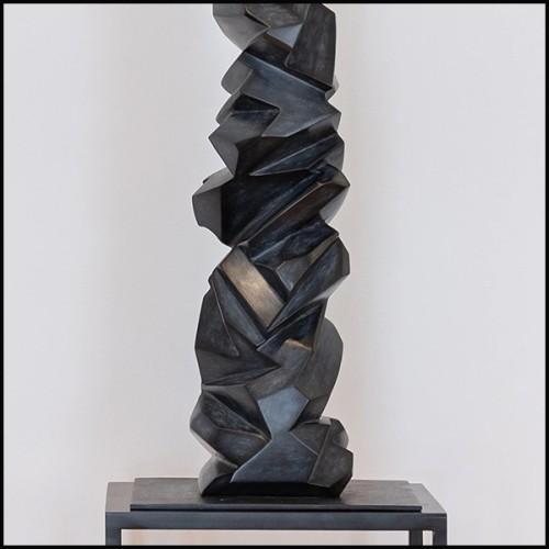 Lampe finition laiton antique avec base en granite noir 24-Leroux Brass