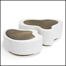 Coffee table set of 2 with white matte finish and curved solid brass tops in vintage finish 145-Dalia White Brass