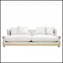 Sofa in solid wood in waxed finish with capitonated back and covered with white linen fabric 176-Damian