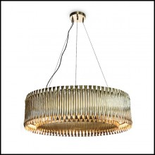 Chandelier rond avec structure composée de tubes en laiton massif finition brossé 151-Doe Round