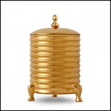 Candle box made in porcelain with lid in gold finish porcelain in 24-karat gold-plated 172-Golden