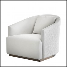 Armchair upholstered and covered with genuine leather and back covered with matelasse genuine leather 150-Palacio