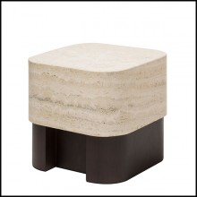 Table d'appoint en noyer massif et avec plateau large en marbre travertin 189-Travertine Large