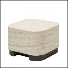 Table d'appoint en noyer massif et avec plateau medium en marbre travertin 189-Travertine Medium