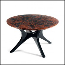 Side table with black lacquered base and with solid mahogany top 145-Foliage