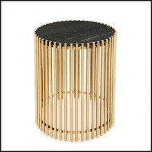 Side table with bars in gold finish and with black stone round top 162-Bars Black