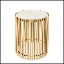 Side table with bars in gold finish and with white stone round top 162-Bars White