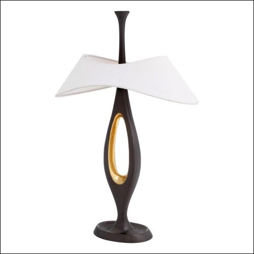 Table d'appoint avec barres en acier finition gold et avec plateau rond en pierre blanche 162-Bars White