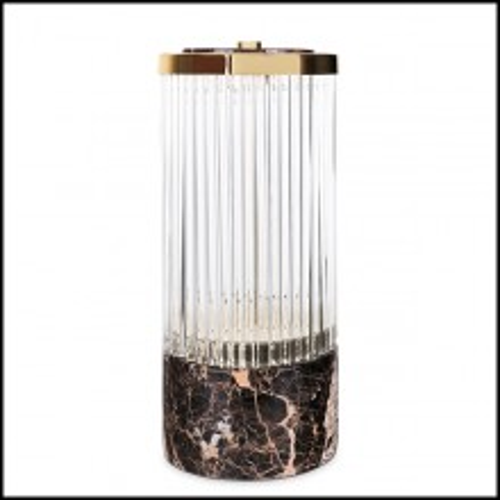 Lampe avec structure en laiton massif poli et avec barres de verre en cristal 164-Highlight Brass Large