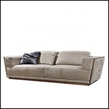Sofa upholstered and covered with high Italian quality nubuck leather with solid bronze edging 150-Powel
