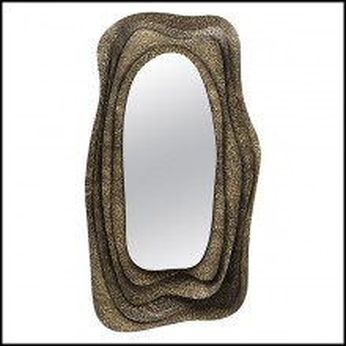 Miroir rectangulaire avec structure en laiton massif martelé finition brillant 155-Tide Rectangular