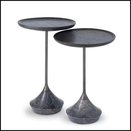 Table basse en laiton poli avec plateau en marbre et plateau en verre fumé noir 164-Gaius
