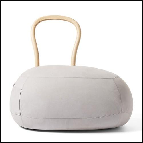 Table d'appoint ronde finition blanc laqué et avec anneau finition gold rose 173-North