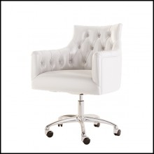 Armchair covered with capitonated white leather and back seat with white leather on swivel base 155-Icart Office