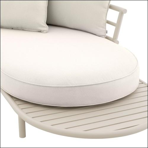 Fauteuil couvert avec cuir blanc capitonné et dossier couvert avec cuir blanc sur base rotative 155-Icart Office