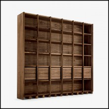 Bookcase with solid walnut wood structure with modular shelves and drawers 154-Library
